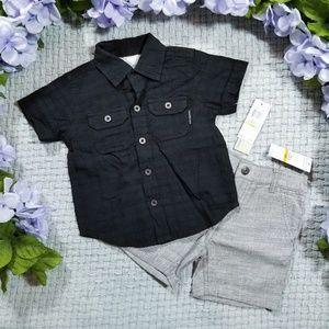 2/$28 Calvin Klein gray/black Summer shirt/shorts